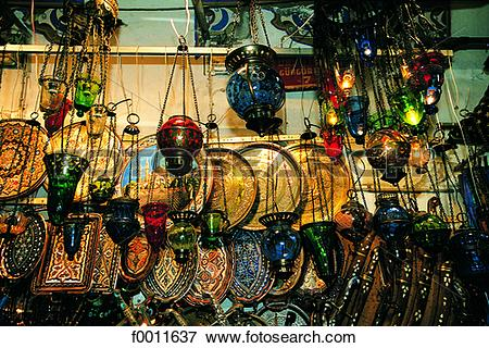 Picture of Turkey, Istanbul, Turkish lights at Grand Bazaar.