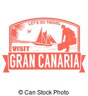 Clipart Vector of Gran Canaria rubber stamp. Grunge design with.