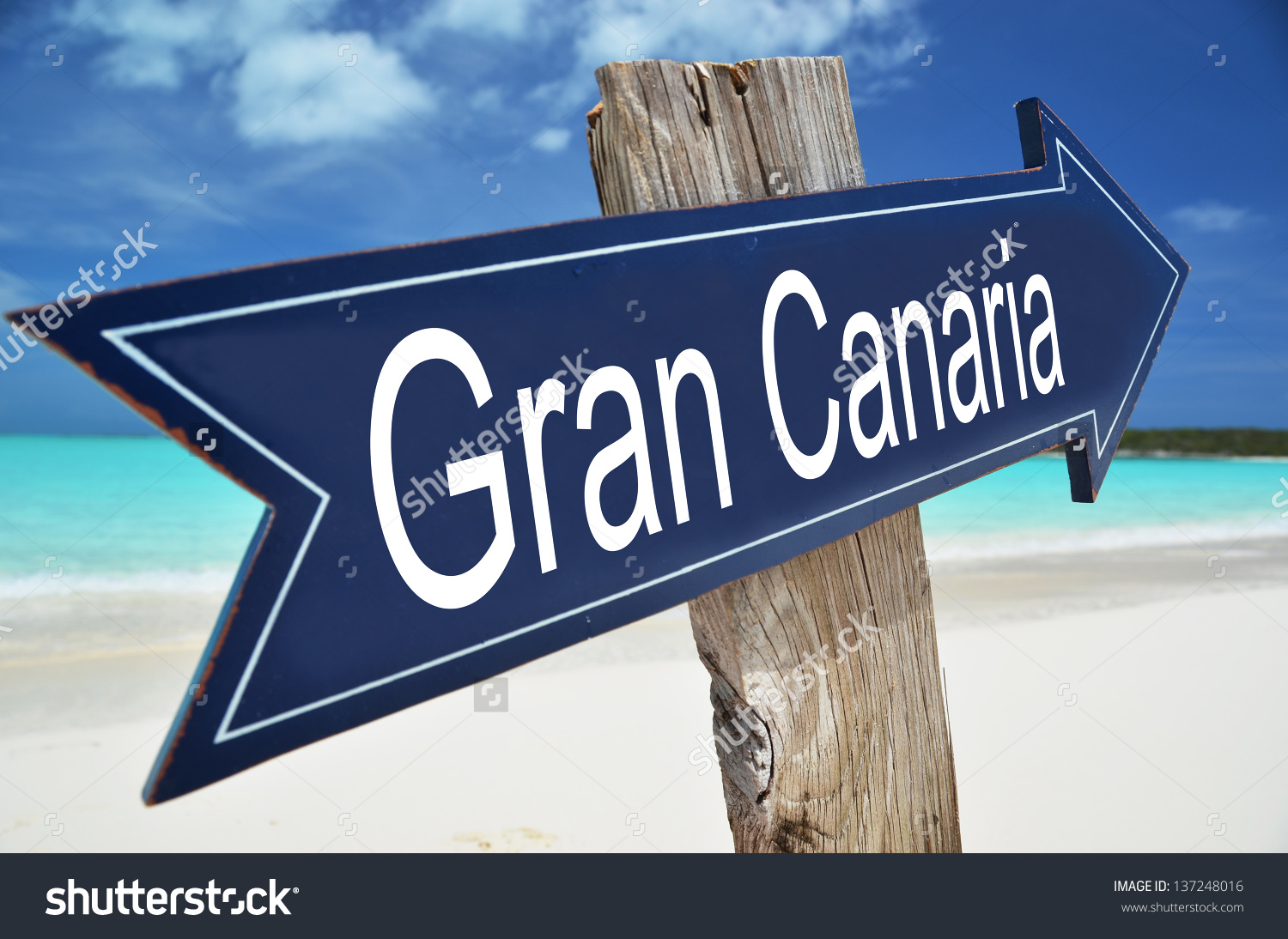 Gran Canaria Sign On Beach Stock Photo 137248016.
