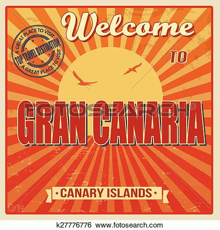 Clip Art of Gran Canaria, Canary Islands vintage poster k27776776.