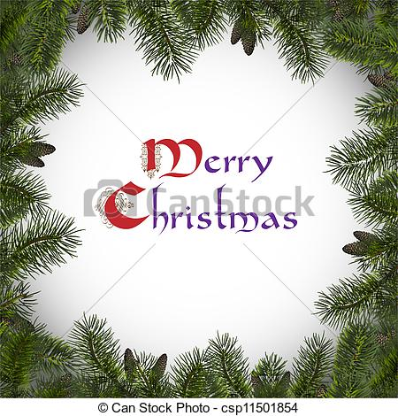 Clipart Vector of Christmas frame with branches spruce .Vector in.