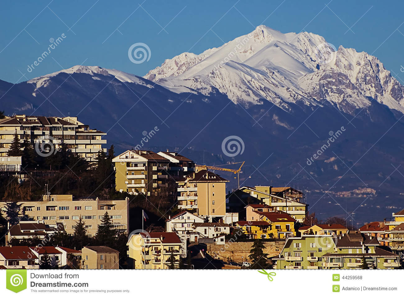 Chieti With Gran Sasso Mountain Stock Photo.