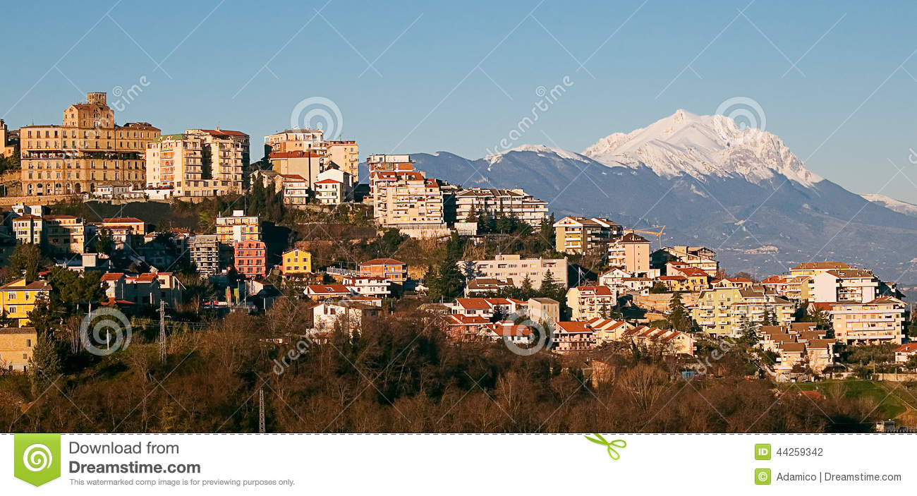 Chieti And Gran Sasso Mountain Stock Photo.