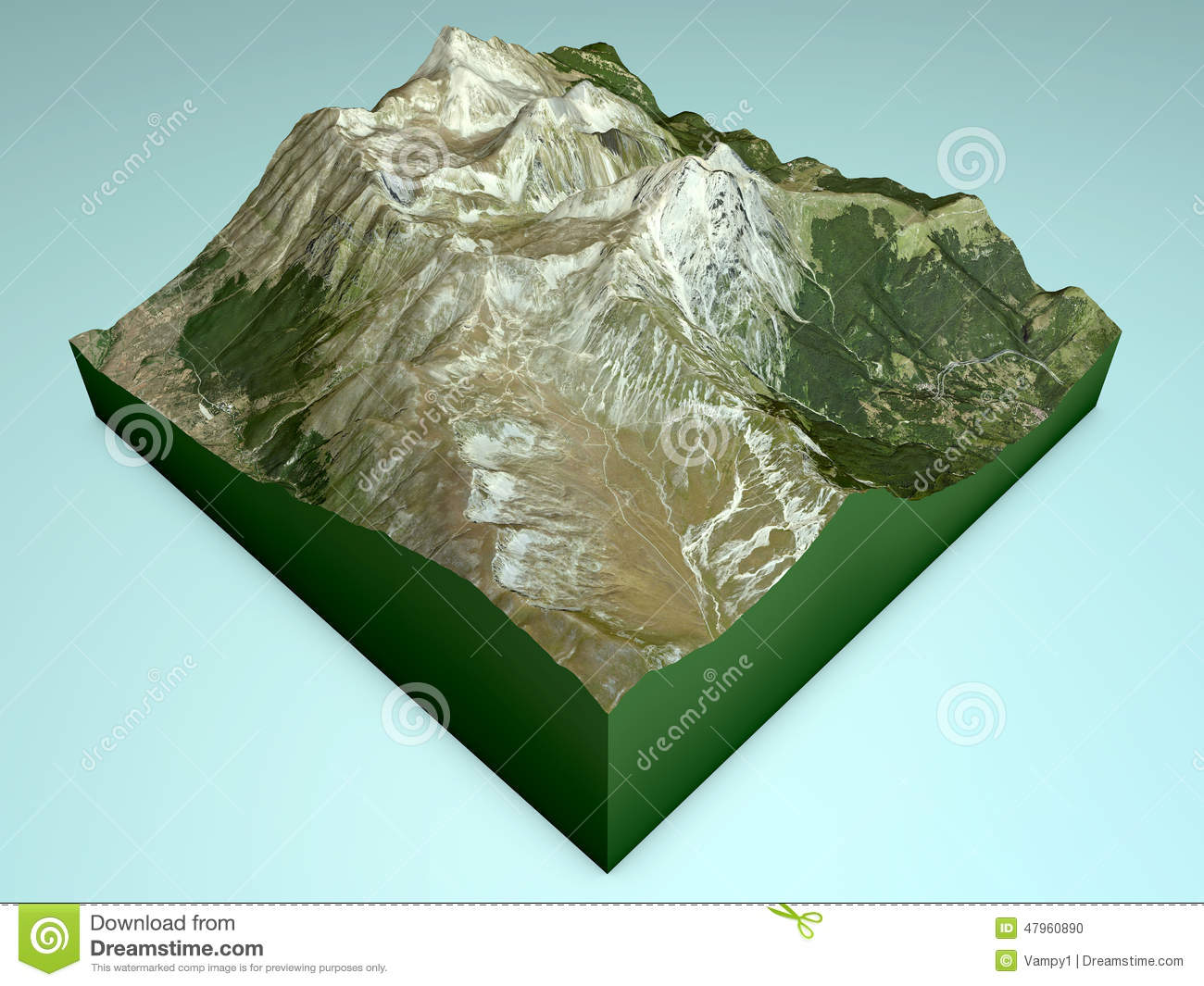 Gran Sasso Mountain Section, Split 3d Stock Illustration.