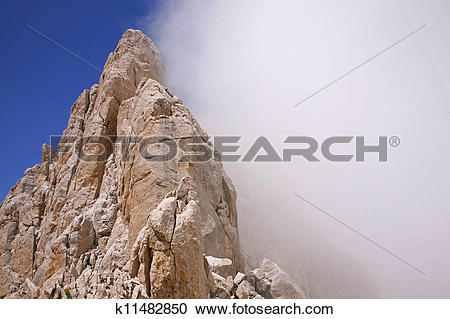 "Stock Photography of Mount Gran Sasso with fog, ""Gran Sasso."