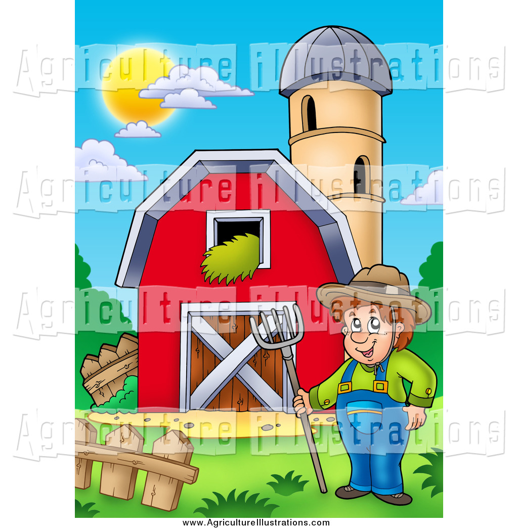 Agriculture Clipart of a Happy White Male Farmer by a Barn and.