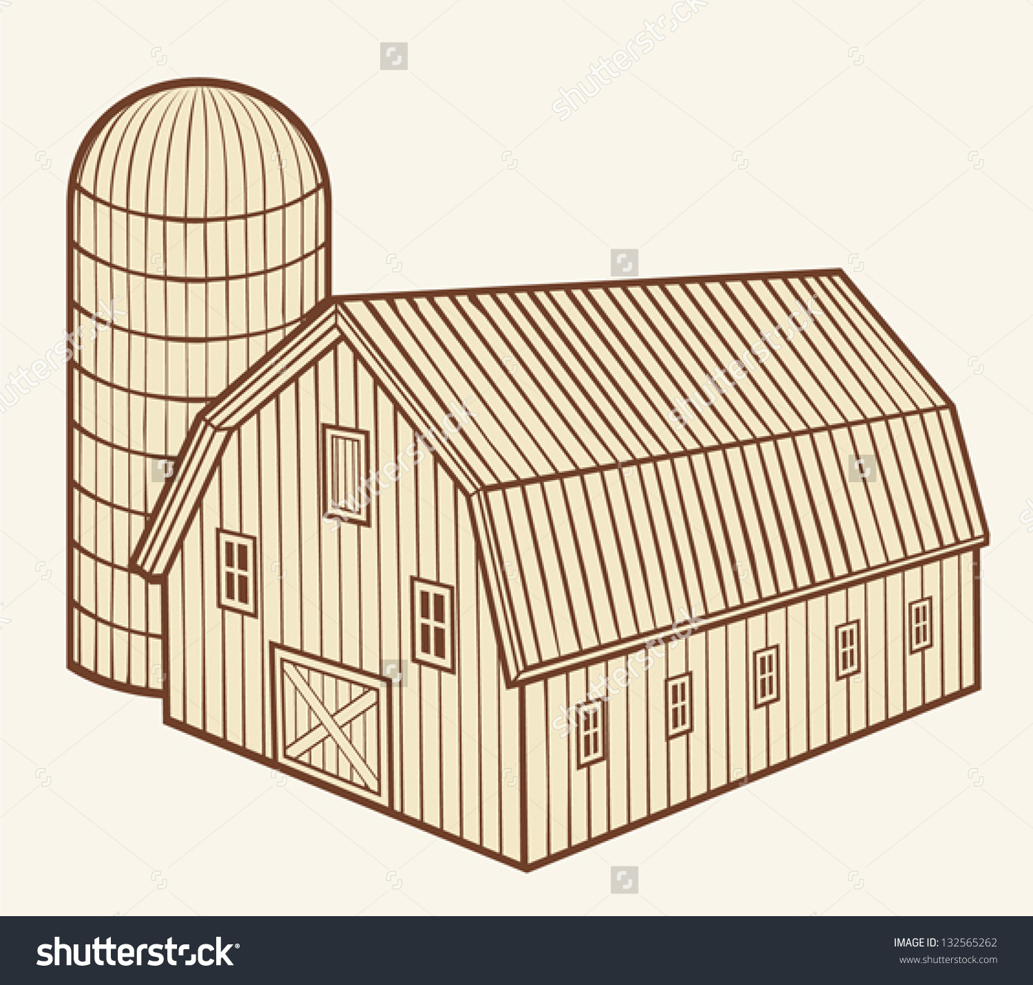 Barn Silo Granary Stock Vector 132565262.