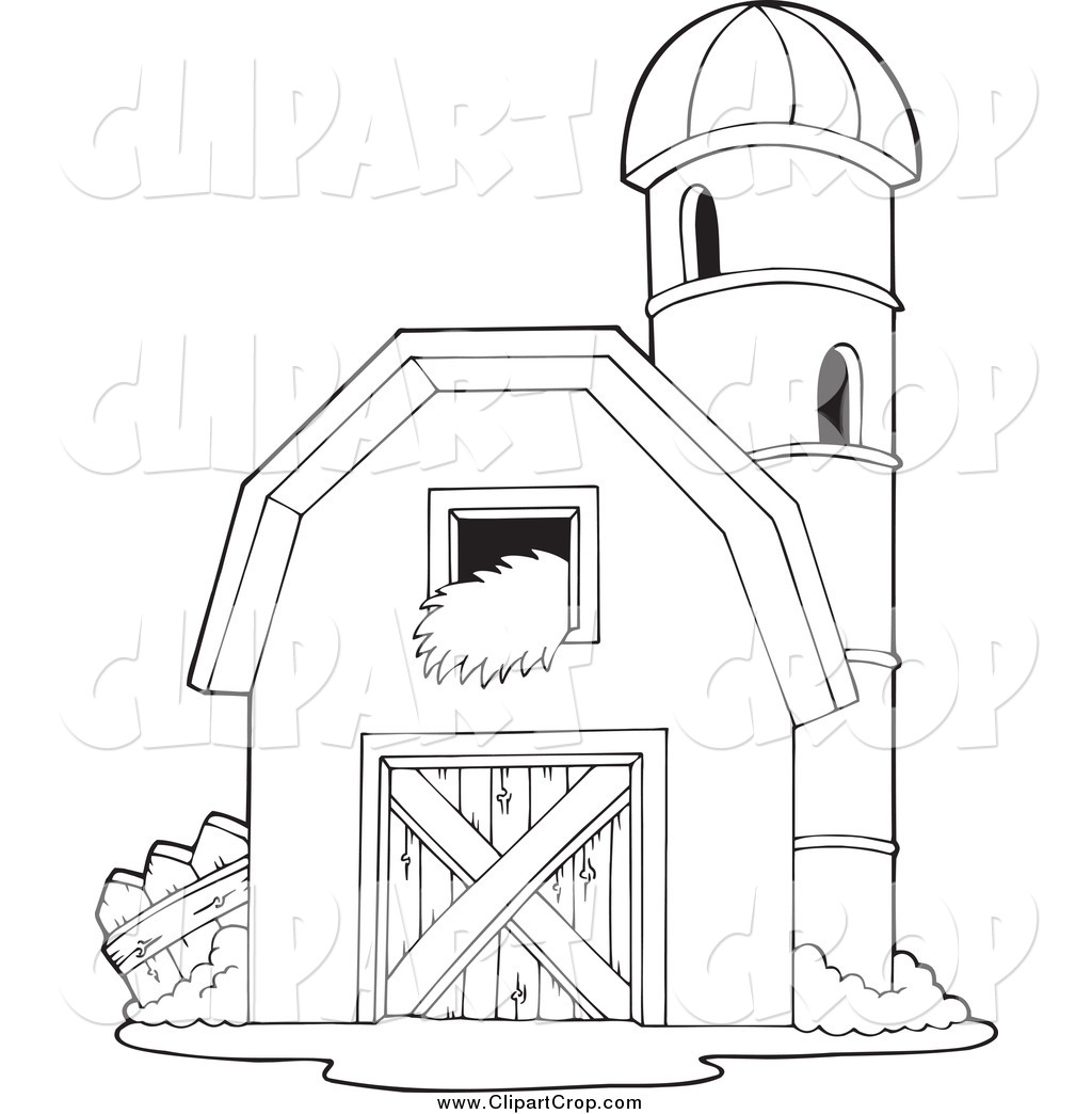 Clip Art Vector of a Black and White Barnyard Granary by visekart.