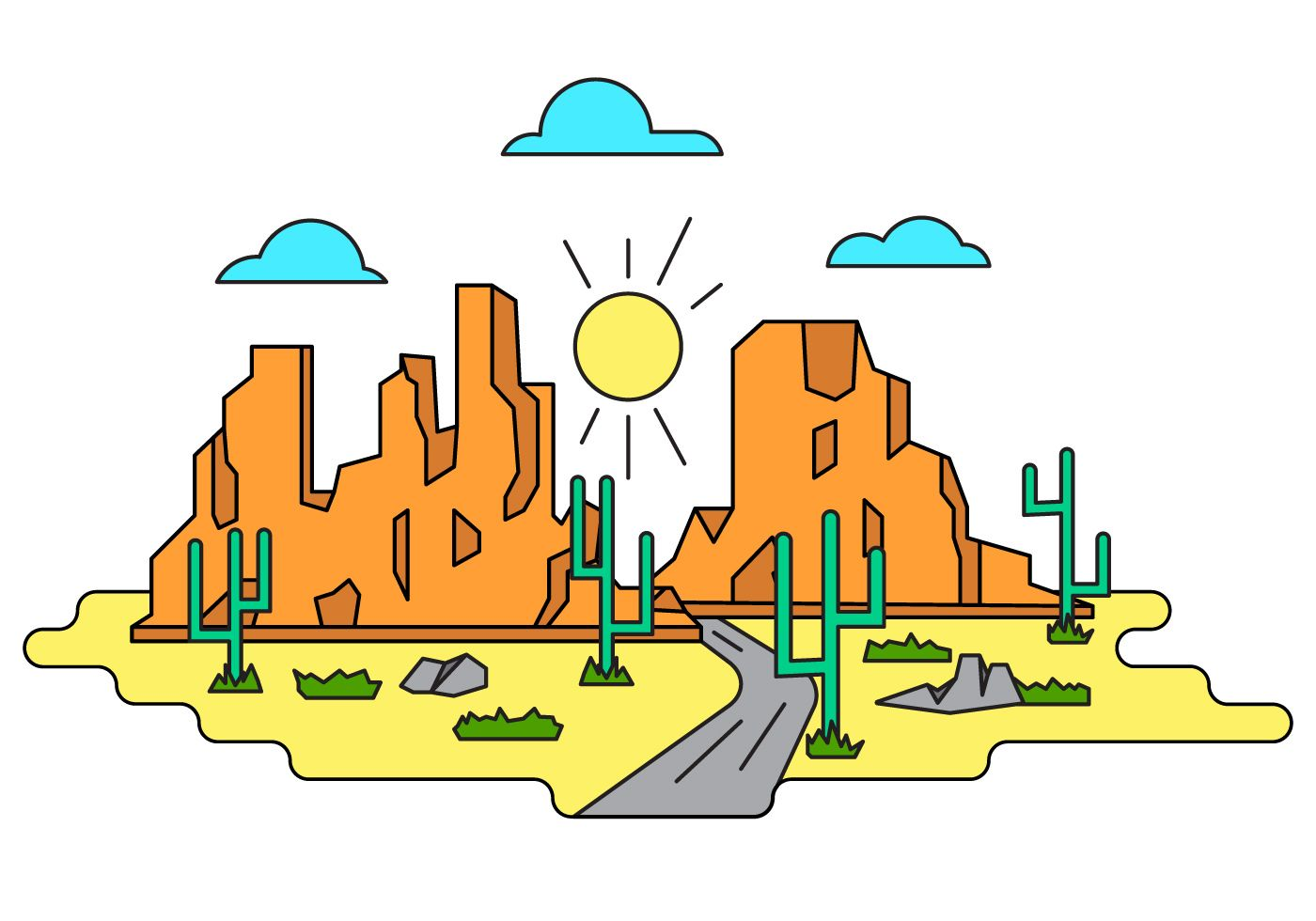 Grand Canyon Vector Illustration in 2019.