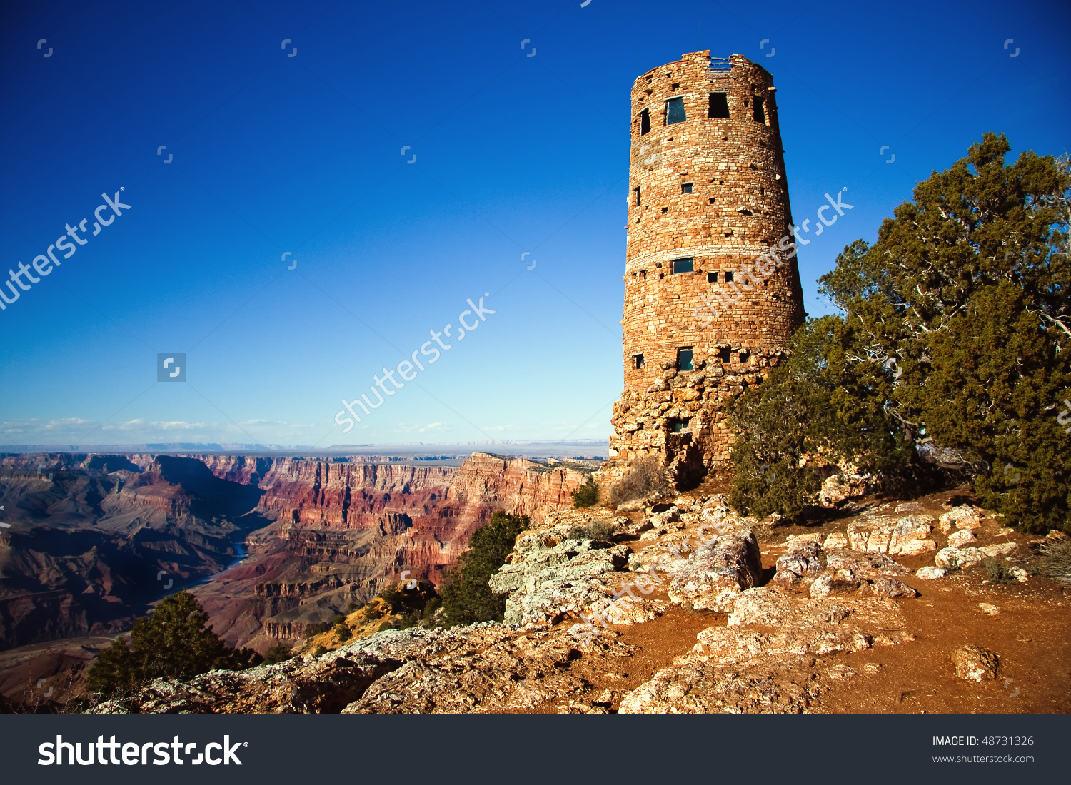 Old Watch Tower Grand Canyon National Stock Photo 48731326.