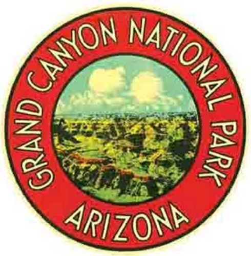 Grand Canyon National Park Vintage Looking Travel Decal Luggage.