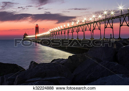 Pictures of Grand Haven Pier at Night k32224888.