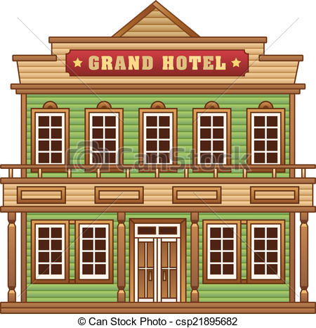 Vector of Wild West grand hotel building.