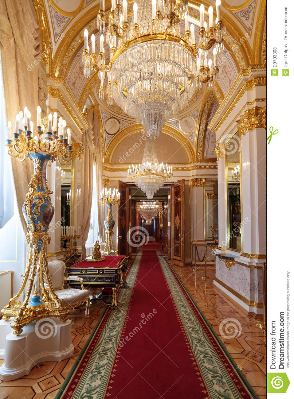 Grand Kremlin Palace Enfilade Royalty Free Stock Photos.