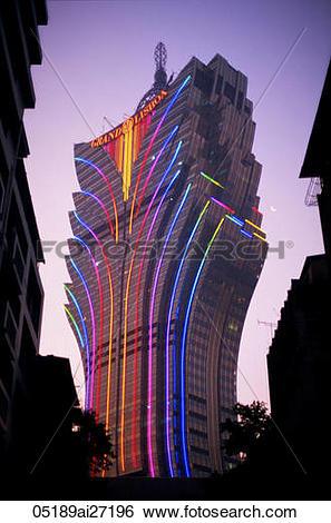 Stock Images of China,Macau,Grand Lisboa Hotel and Casino Night.
