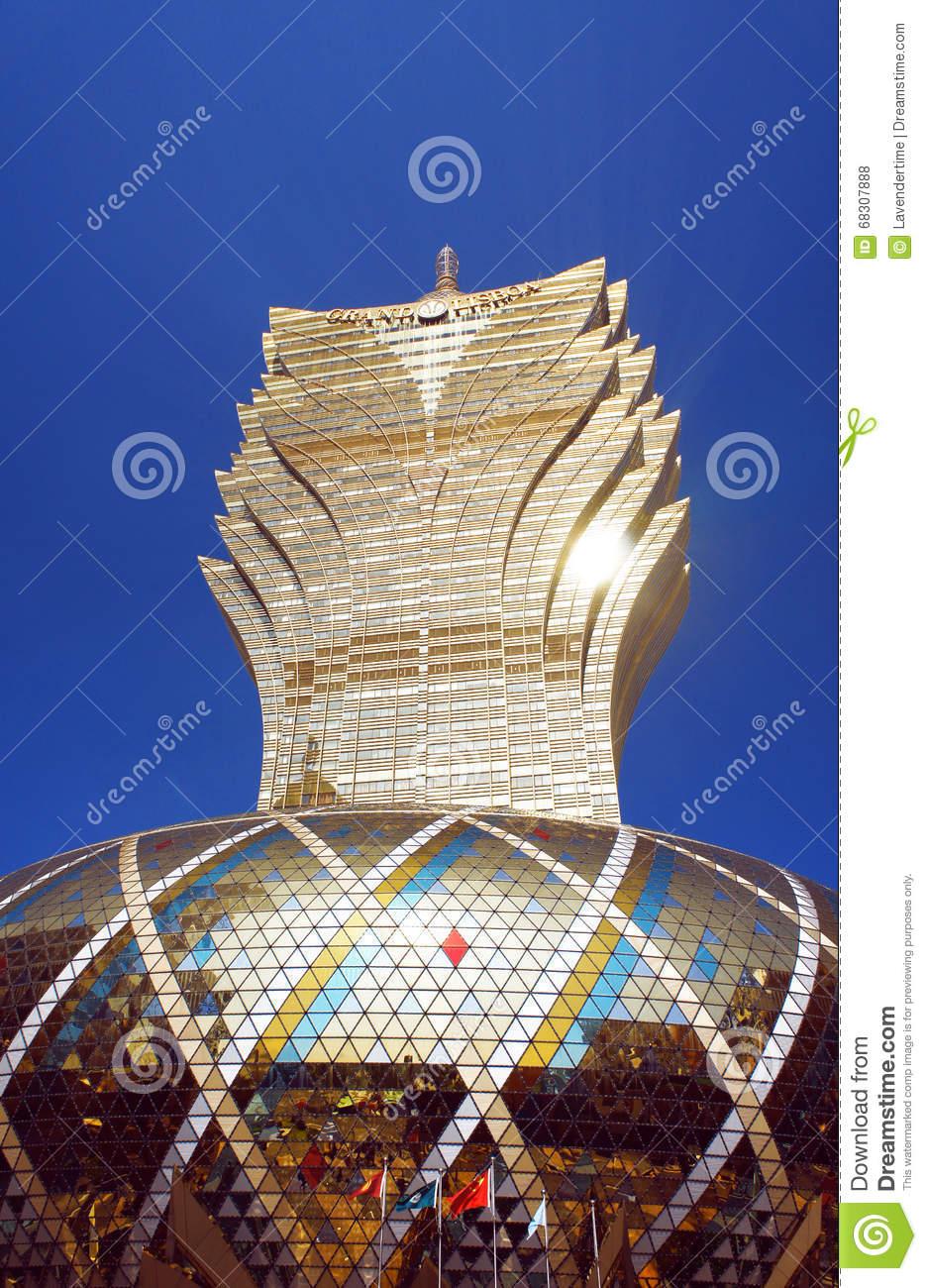 Tallest Macau Building, Grand Lisboa Casino Editorial Stock Photo.
