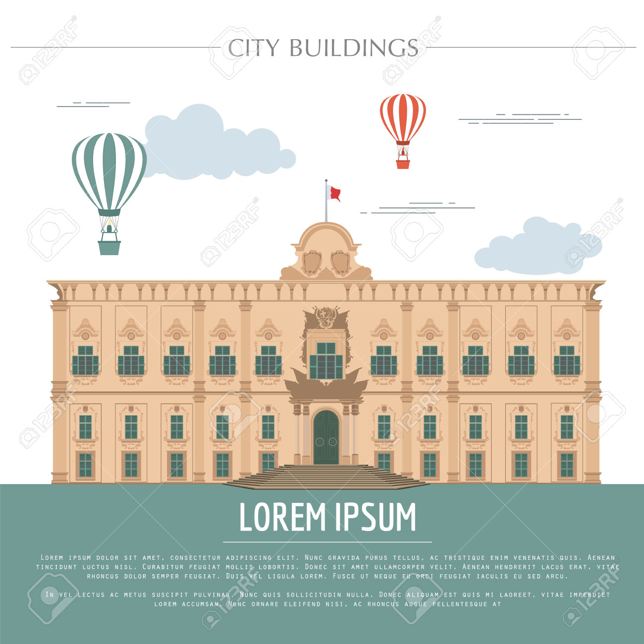 City Buildings Graphic Template. Grand Master Palace. Vector.
