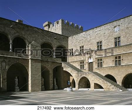 Stock Photo of Courtyard of castle, Grand Master's Palace, Rhodes.