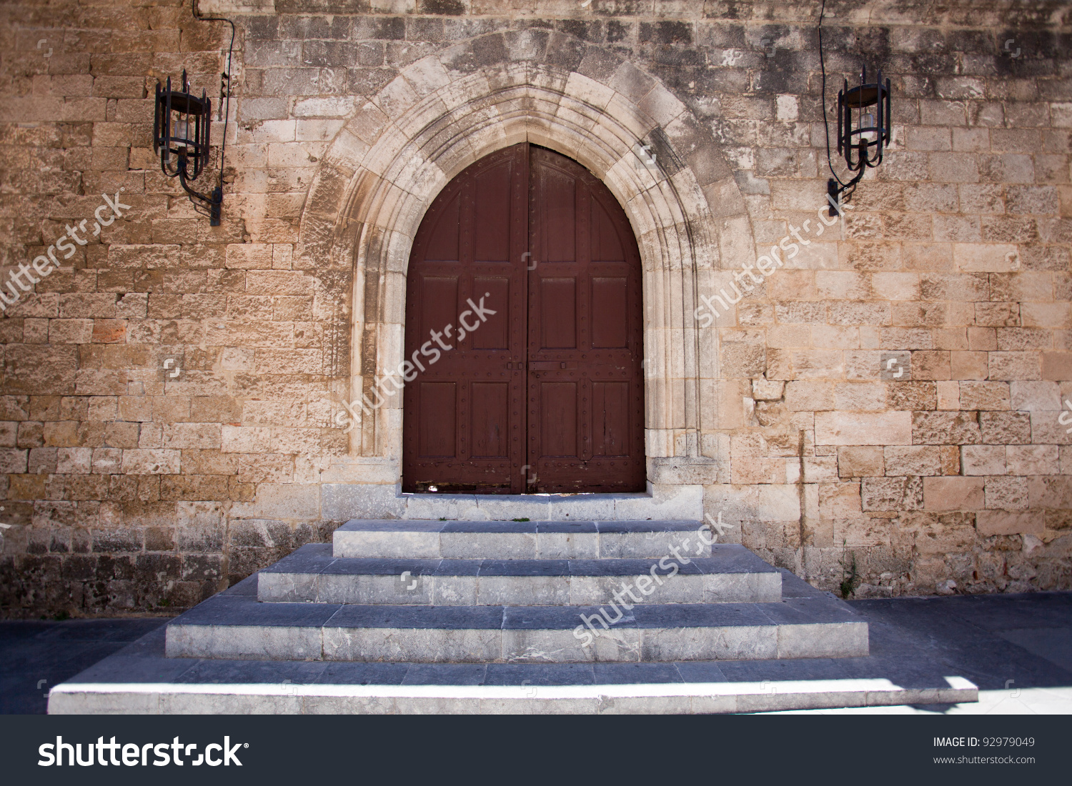 Ancient Castle Door At The Grand Master Palace In Rhodes Town.