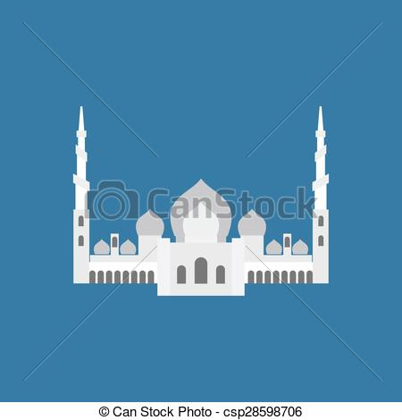 Vector Clipart of Sheikh Zayed Grand Mosque in Abu Dhabi. Vector.