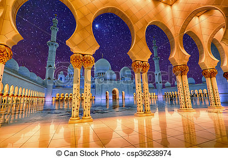 Stock Illustrations of Sheikh Zayed Grand Mosque in Abu Dhabi, UAE.
