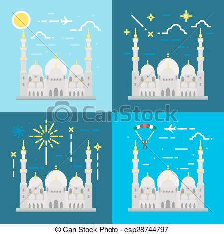 EPS Vectors of Flat design of Sheikh Zayed grand mosque Abu Dhabi.