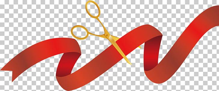 Opening ceremony Ribbon Scissors, Red ribbon ribbon cutting.
