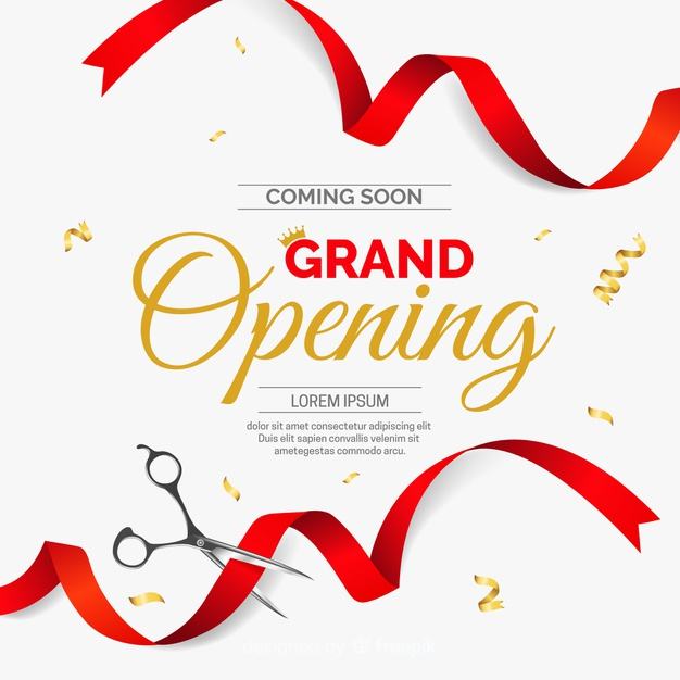 Realistic cut ribbon grand opening background Vector.