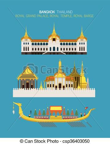 Clipart Vector of Thailand Royal Place Objects Set.