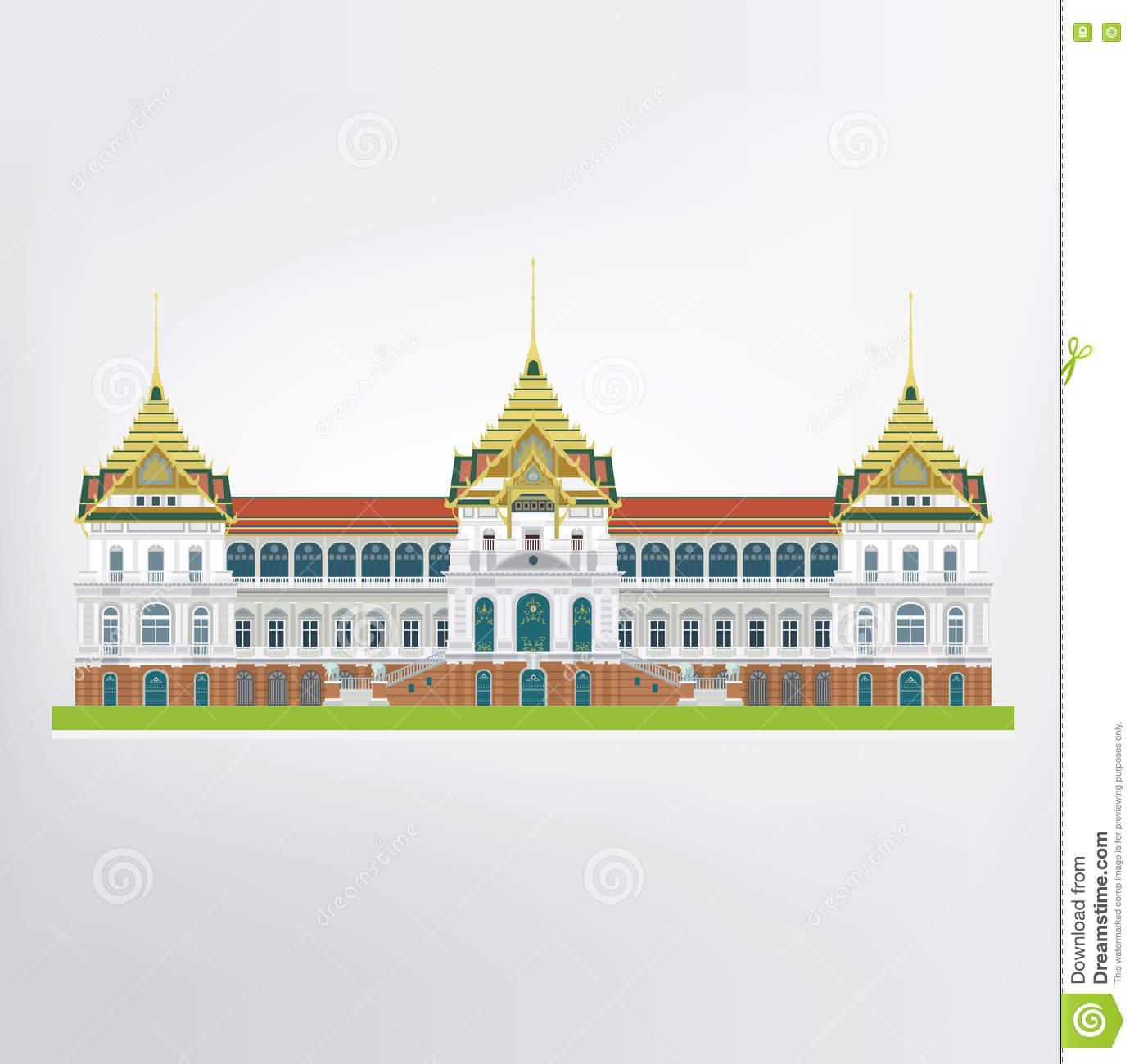 Vector Of Grand Palace Of Thailand In Bangkok Stock Vector.