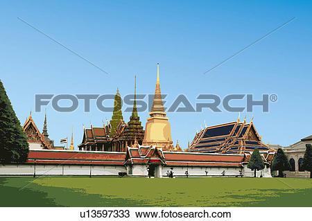 Drawing of Thailand, Bangkok, Grand Palace, Capital Cities.