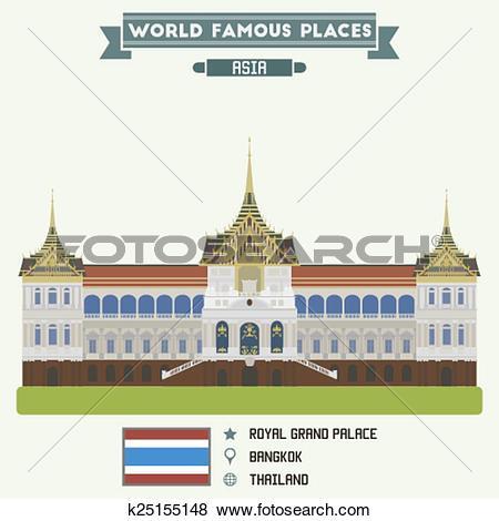 Clip Art of Royal Grand Palace. Bangkok, Thailand k25155148.