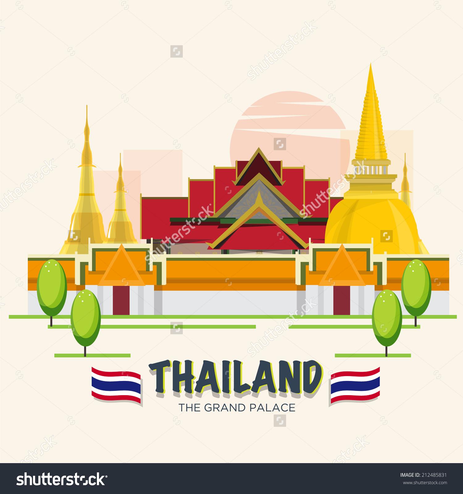 Grand Palace Landmark Bangkok Thailand Asean Stock Vector.