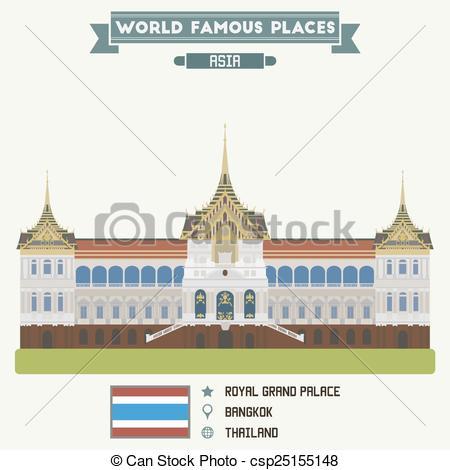EPS Vector of Royal Grand Palace. Bangkok, Thailand csp25155148.