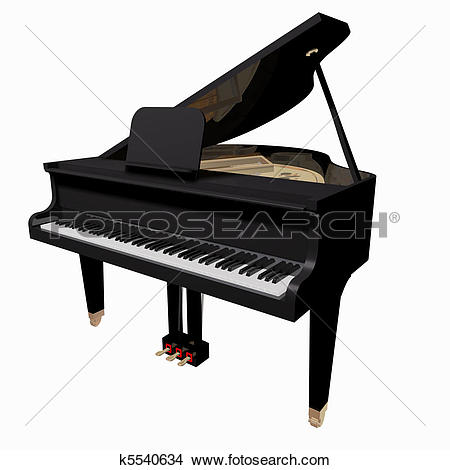 Clip Art of A Retro Grand Piano Isolated on White Background.