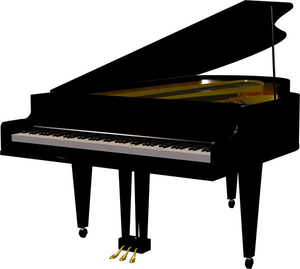 Woman grand piano notes cartoon piano clip art free vector.