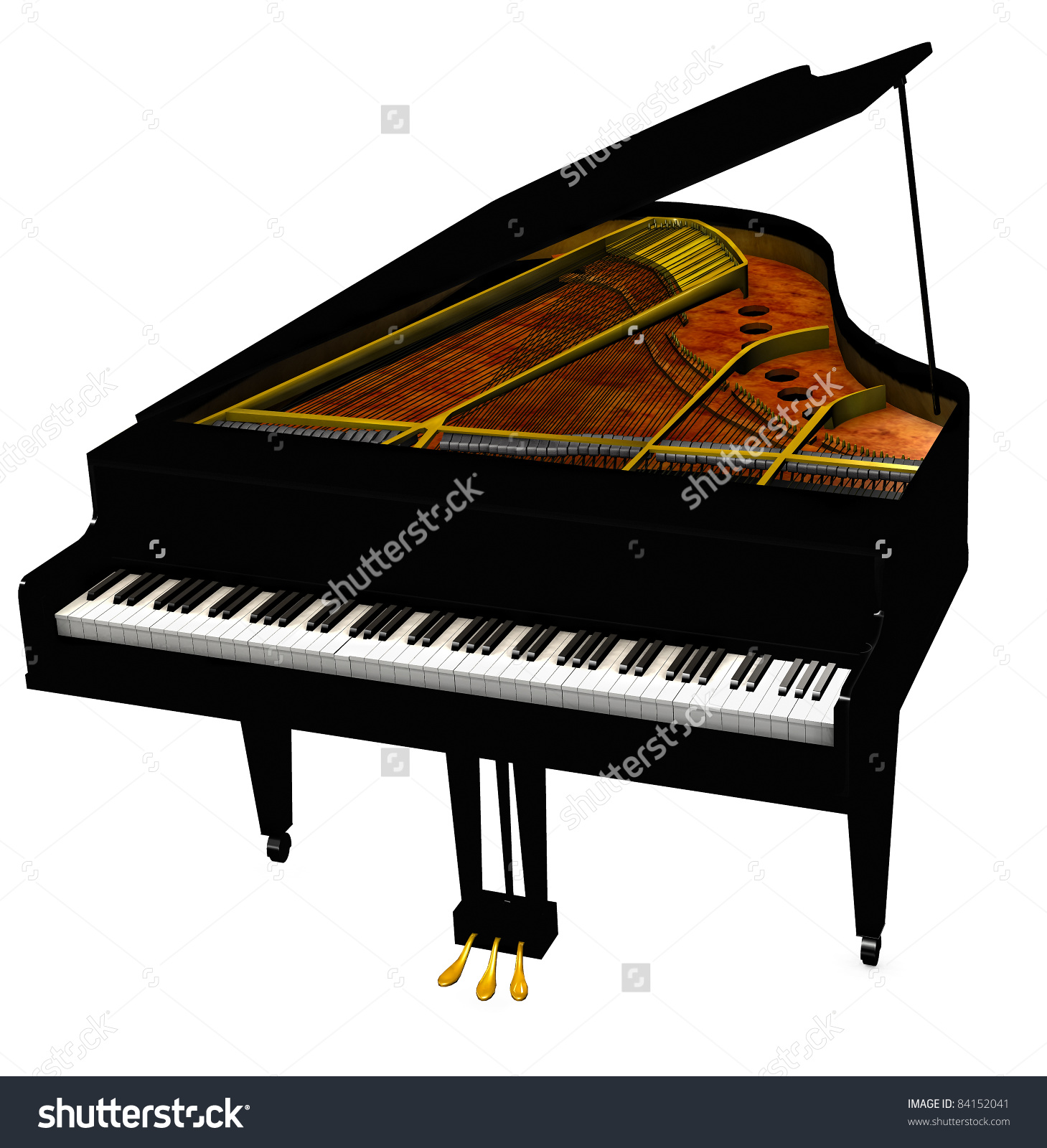Baby Grand Piano Cover Open Eighty Stock Illustration 84152041.