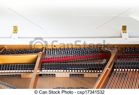 Stock Photos of Closeup of white grand piano showing the strings.