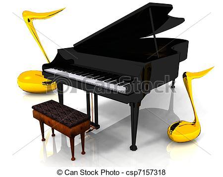 Stock Illustrations of Baby Grand Piano keys and soundboard.