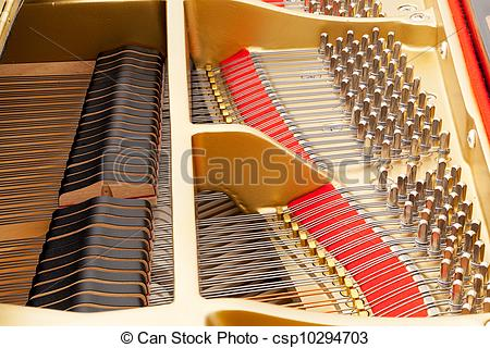 Stock Photography of Interior of grand piano with strings.