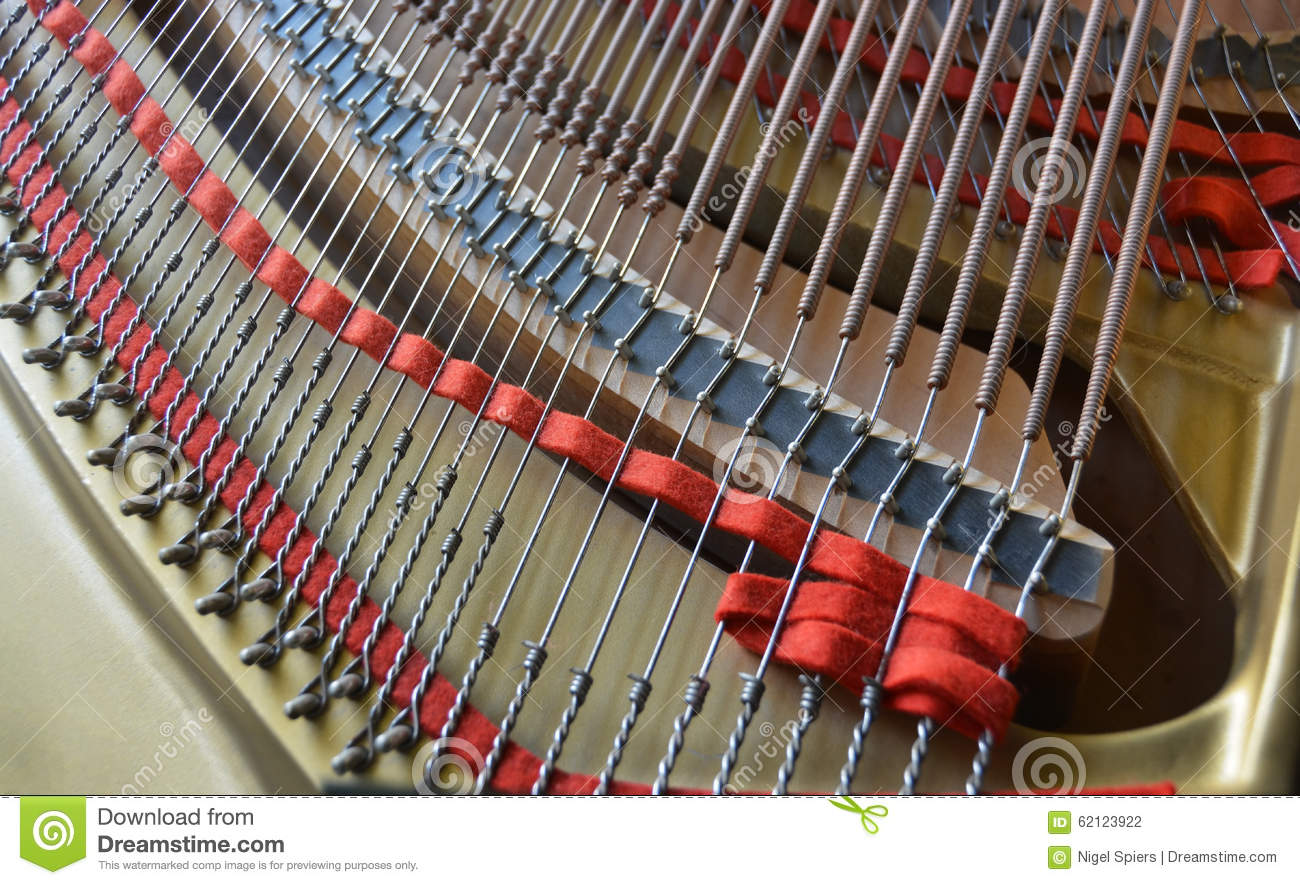 Grand Piano Strings Abstract In Landscape View Stock Photo.