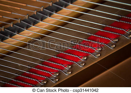 Stock Photo of Steinway baby grand piano strings.