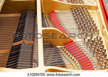 Stock Photo of Interior of grand piano with strings k10294703.