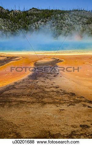 Pictures of Grand Prismatic Spring in Yellowstone National Park.