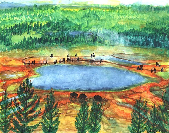 Grand Prismatic Spring Bison Yellowstone National by KBlossoms.
