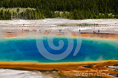 Grand Prismatic Spring In Yellowstone National Park Editorial.