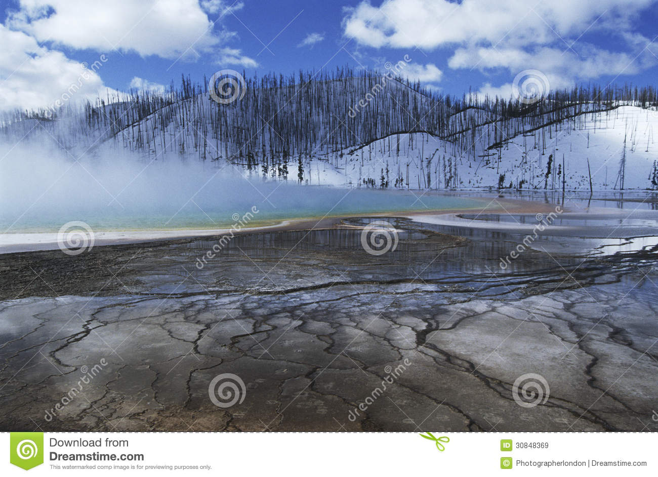 USA Wyoming Yellowstone National Park Grand Prismatic Spring Mist.