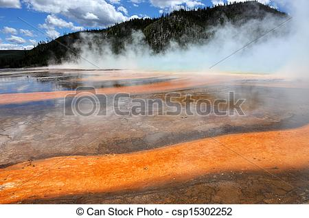 Stock Images of Grand prismatic Spring in Yellowstone USA.