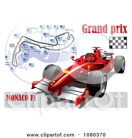 Clipart Formula One Race Car And Grand Prix Circuit.