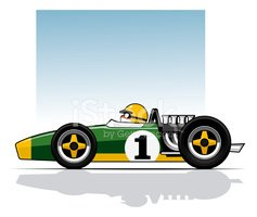 Late 60's Grand Prix Car stock vectors.